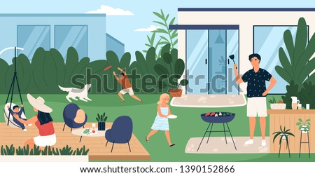 Happy family spending time in backyard. Mother, father and children performing recreational activities in garden. Parents and kids at barbecue party or picnic. Flat cartoon vector illustration.
