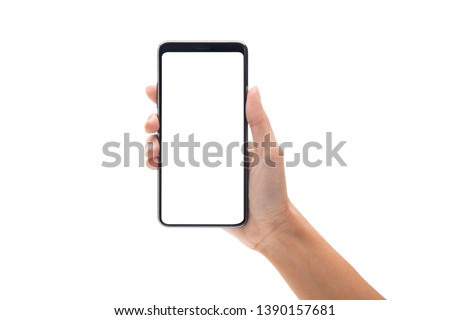 Woman hand holding the black smartphone with blank screen isolated on white background with clipping path. #1390157681