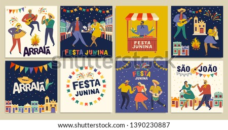 Brazilian Traditional Celebration Festa Junina. Portuguese Brazilian Text saying Friend's Village. Festa de Sao Joao. Arraia Portuguese Brazilian Text saying Fair. Festive Typographic Vector Art. #1390230887