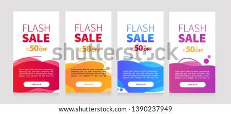 Dynamic modern fluid mobile for flash sale banners. Sale banner template design, Flash sale special offer set #1390237949