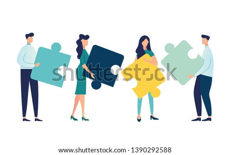 Business concept. Team metaphor. people connecting puzzle elements. Vector illustration flat design style. Symbol of teamwork, cooperation, partnership vector Royalty-Free Stock Photo #1390292588