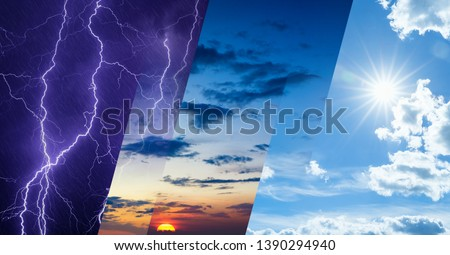 Weather forecast concept, climate change background, collage of sky image with variety weather conditions - bright sun and blue sky, dark stormy sky with lightnings, glowing sunset #1390294940