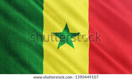 Senegal flag is waving 3D illustration. Symbol of Senegalese national on fabric cloth 3D rendering in full perspective. #1390449107