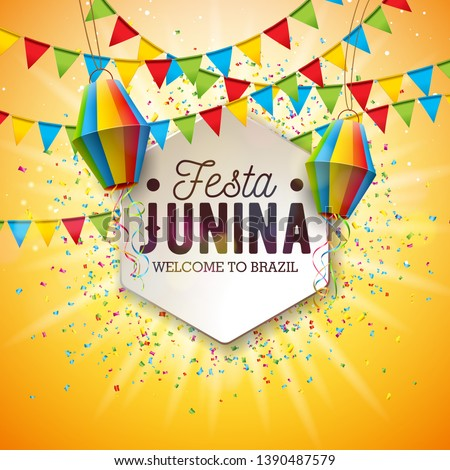 Festa Junina Illustration with Party Flags and Paper Lantern on Yellow Background. Vector Brazil June Festival Design for Greeting Card, Invitation or Holiday Poster. #1390487579