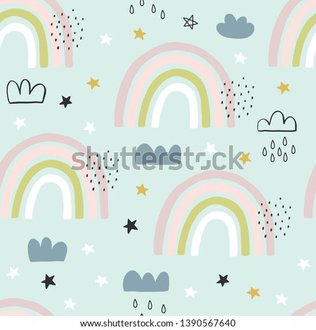 Seamless cute pattern for kids, children. Rainbow, clouds, moon, stars background. Scandinavian style for fabric, wallpaper, clothes, swaddles, apparel, planner, sticker #1390567640