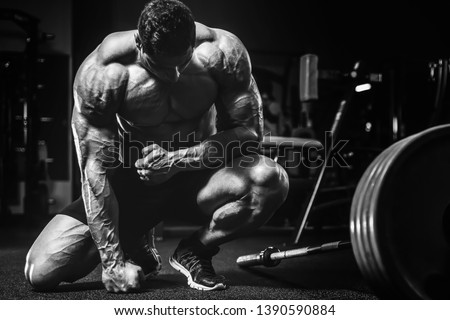 Handsome strong athletic men pumping up muscles workout bodybuilding concept background - muscular bodybuilder handsome men doing exercises in gym naked torso #1390590884