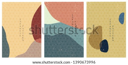 Geometric triangle template vector. Japanese pattern background. Colorful shapes.