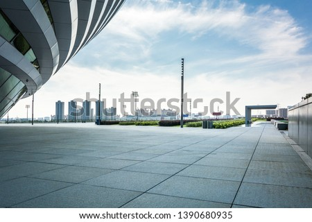 empty square floor and mountain nature landscape in city park #1390680935