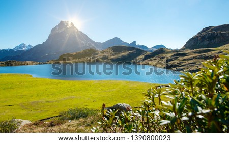 a view of the famous Pic du Midi Ossau in the French Pyrenees mountains