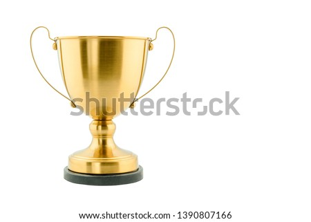 Brass steel trophy, dual handle neo-classic, isolated on white. Trophy is a tangible, durable reminder of a specific achievement, serves as recognition / evidence of merit, awarded for sporting events #1390807166