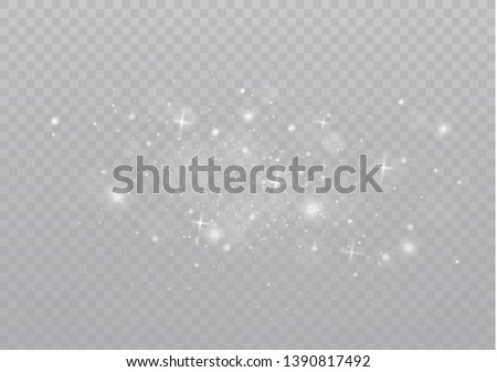 The dust sparks and golden stars shine with special light. Vector sparkles on a transparent background. Christmas light effect. Sparkling magical dust particles. #1390817492