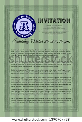 Green Formal invitation. With background. Vector illustration. Retro design.  #1390907789