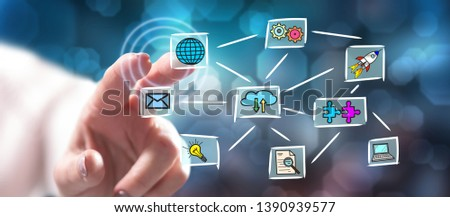 Woman touching a cloud computing concept on a touch screen with her finger #1390939577