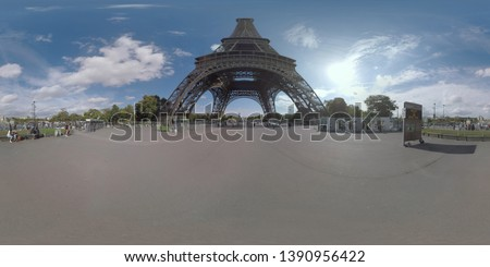 360 photo - Citizens and tourists walking on the area under the Eiffel Tower overlooking Champ de Mars and Palais de Chaillot