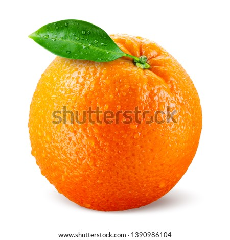 Orang fruit isolate. Orange with leaves isolated on white. With leaf. #1390986104