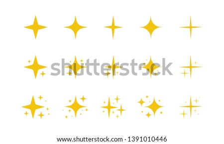 Yellow, gold, orange sparkles symbols vector. The set of original vector stars sparkle icon. Bright firework, decoration twinkle, shiny flash. Glowing light effect stars and bursts collection. Vector #1391010446