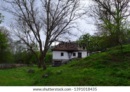 an old abandoned ruined house #1391018435