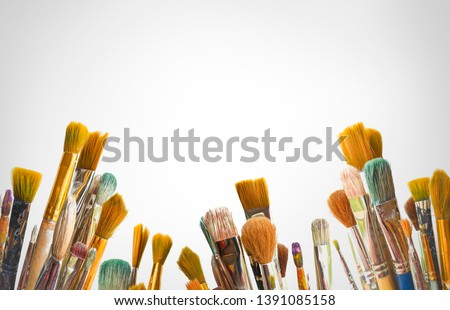 kids artists paint brushes design layout concept on white background with shadow #1391085158