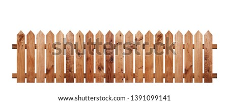 Brown wooden fence isolated on a white background that separates the objects. There are Clipping Paths for the designs and decoration #1391099141