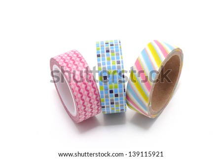 Washi Tape isolated on white background. Is a decorative paper tape that has become very popular among today's youth. Used in packages, notebooks, decoration and recycling. Royalty-Free Stock Photo #139115921