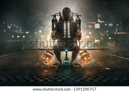 Businessman on upgraded office chair #1391200757