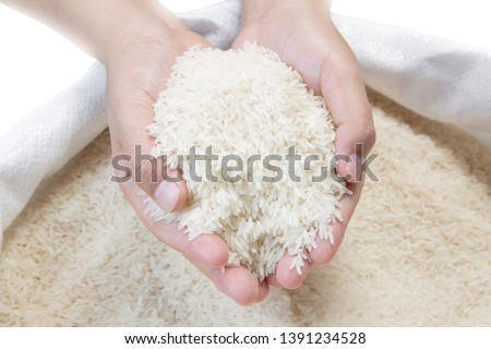 White rice in hand on white background - Stock image #1391234528