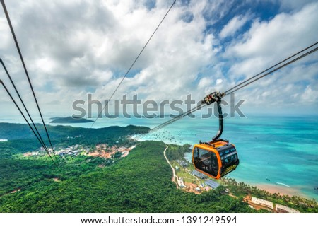 Aerial view of The Longest Cable Car situated on the Phu Quoc Island in South Vietnam. View on area Thom island, Kien Giang #1391249594