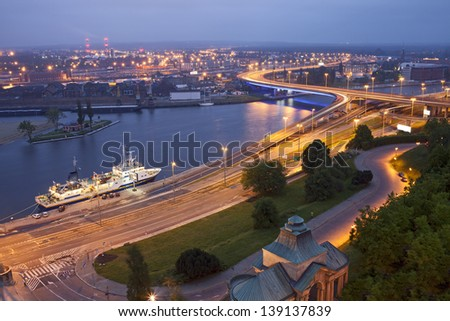 Szczecin (Stettin) City at night, river view from National Museum, Poland. Royalty-Free Stock Photo #139137839