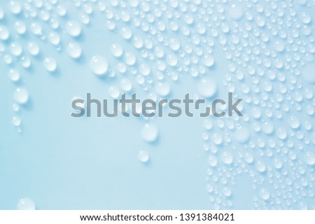 Water Drops. Bubbles close-up. The texture of gel cream. Oxygen bubbles in clear blue water, close-up. Mineral water. Water enriched with oxygen. #1391384021