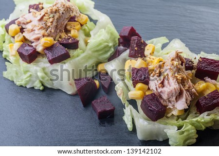 Colorful salad with variety of ingredients #139142102