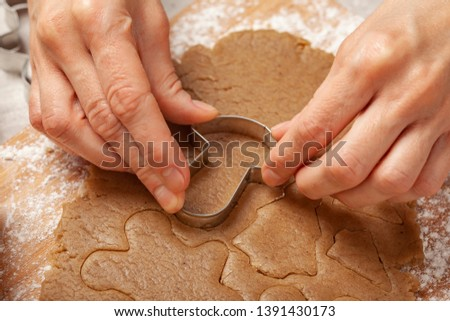 Christmas - preparing homemade gingerbread for the holidays #1391430173