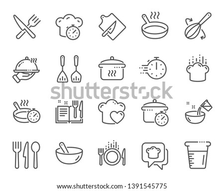 Cooking line icons. Boiling time, Frying pan and Kitchen utensils. Fork, spoon and knife line icons. Recipe book, chef hat and cutting board. Cooking book, frying time, hot pan. Vector #1391545775