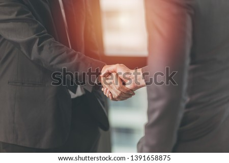 Businessman Shaking hand, Project Deal Together, Business Job Done Concept #1391658875
