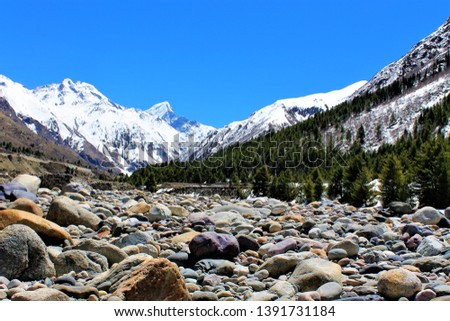 Serene Landscape of Chitkul village in Kinnaur district of Himachal Pradesh, India. It is the last inhabited village near the Indo-China border. Baspa river flows through village. #1391731184