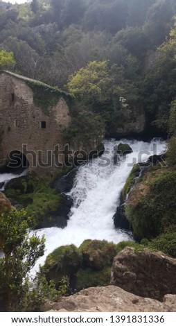 waterfall summer water tourism travel #1391831336