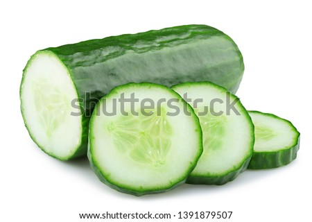 ripe cucumber isolated on white background clipping path #1391879507