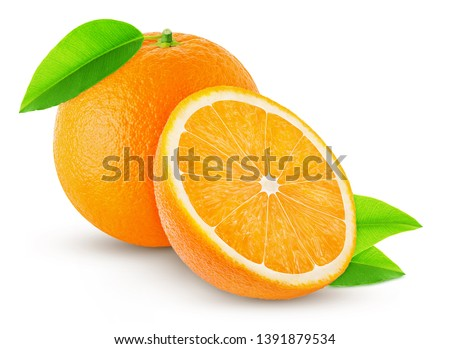 one orange with leaf and half isolated on white background #1391879534