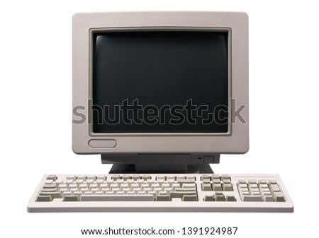 old computer screen and keyboard #1391924987