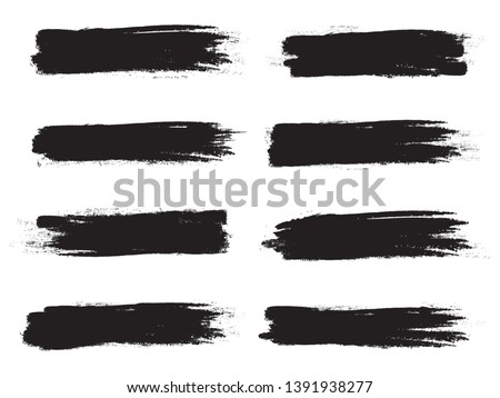 Brush stroke set isolated on white background.Collection of brush stroke for black ink paint, grunge backdrop, dirt banner,watercolor design and dirty texture.Creative art concept, vector illustration #1391938277