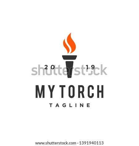 torch fire vector logo design