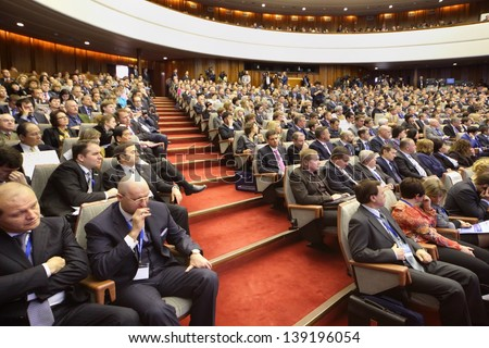 MOSCOW - NOVEMBER 14: Attentive members at Forum Small Business - New Economy, dedicated to 10th anniversary of organization OPORA of RUSSIA, on November 14, 2012 in Moscow, Russia. #139196054
