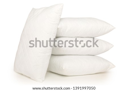 Stack of four soft pillows isolated on white background, cushion, pillow , fluffy pillow  with a shadow on the bottom, stock photography #1391997050