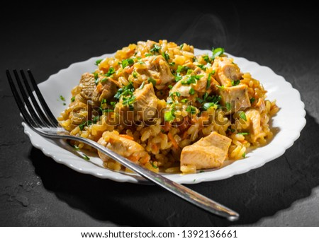 Chicken Breast with Rice and vegetables in white plate on dark black background #1392136661