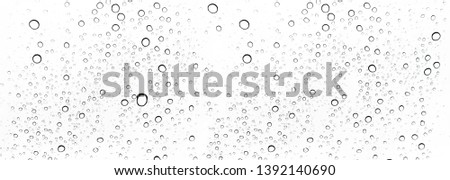 Rain drops on window glasses surface Natural Pattern of raindrops. Natural pattern of raindrops on white background for your design. #1392140690