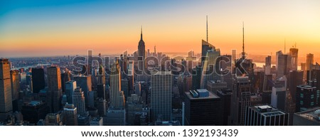 New York City Skyline with Urban Skyscrapers at Sunset, USA #1392193439