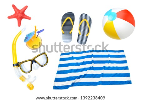 Summer objects collage,beach items set isolated. Holiday vocation symbol.  #1392238409
