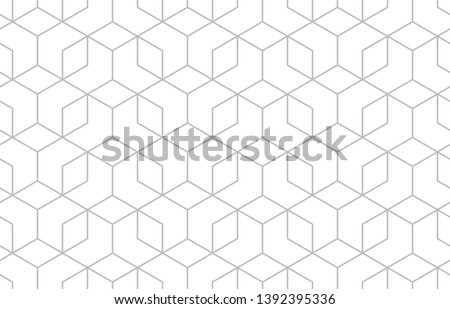 The geometric pattern with lines. Seamless vector background. White and grey texture. Graphic modern pattern. Simple lattice graphic design. #1392395336
