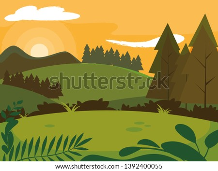 day landscape with pines trees scene natural #1392400055