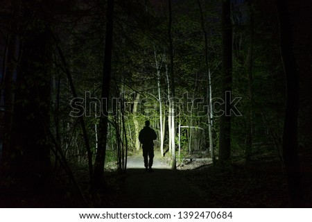 Man standing outdoor at dark night shining with flashlight. Mystical and abstract photo of Swedish nature and landscape. Royalty-Free Stock Photo #1392470684