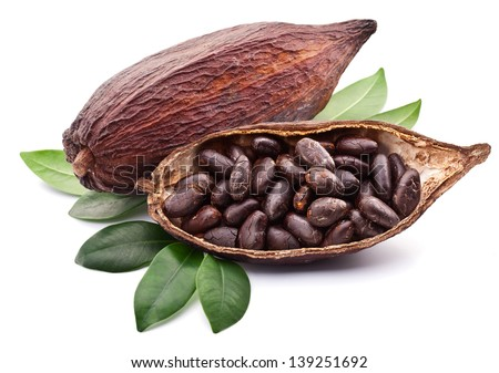 Cocoa pod with cocoa beans on a white background. #139251692